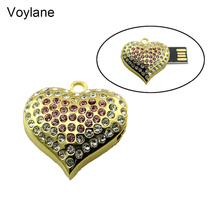 Voylane 2016 Usb Flash Drive Heart Jewelry Crystal Diamond Pendrive 4GB 8GB Pen Drive 16GB 32GB 64GB Memory USB stick 2.0