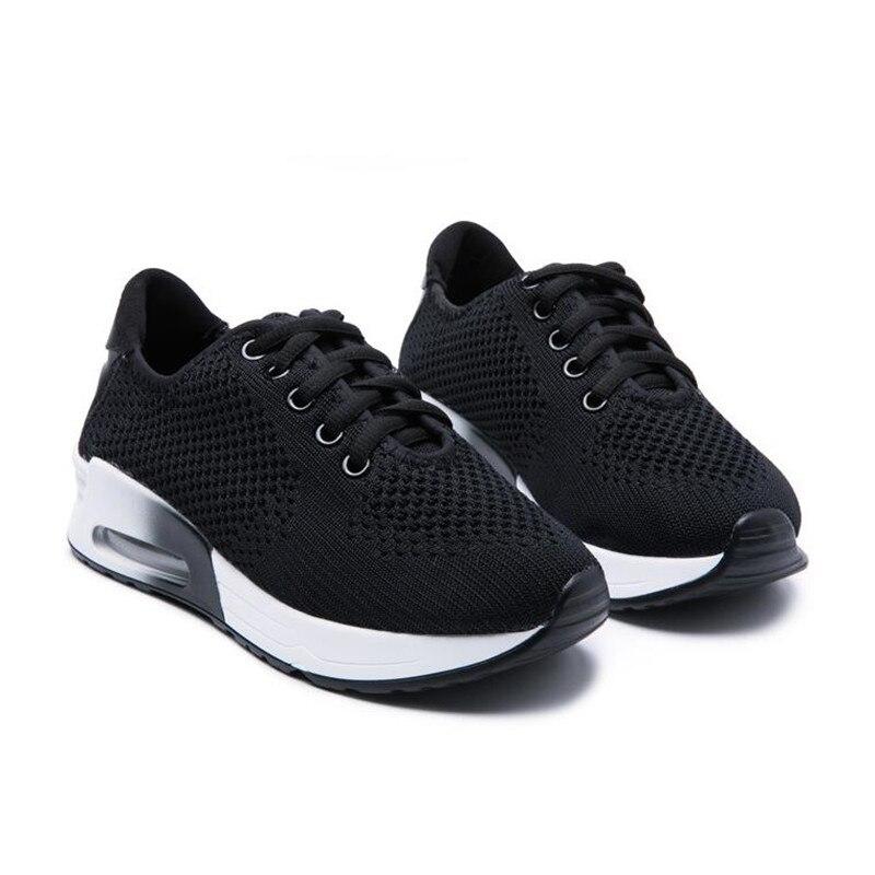 pop women shoes lace up air mesh walking shoes cushion gumshoes black flat casual shoes feminino esportivo basket femme XK011207<br><br>Aliexpress
