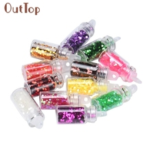 Beauty Girl Nail sticker Fashion 12 Colors Nail Art Tips Stickers 3D Glitter Sequins Manicure DIY Set Hot Sep 1
