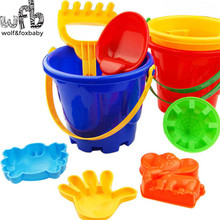 6pcs/lot 14*17cm Lovely Child Beach Toy Large bucket set Cute Large Hourglass Sand Tools Bath Toys Set summer hot sale