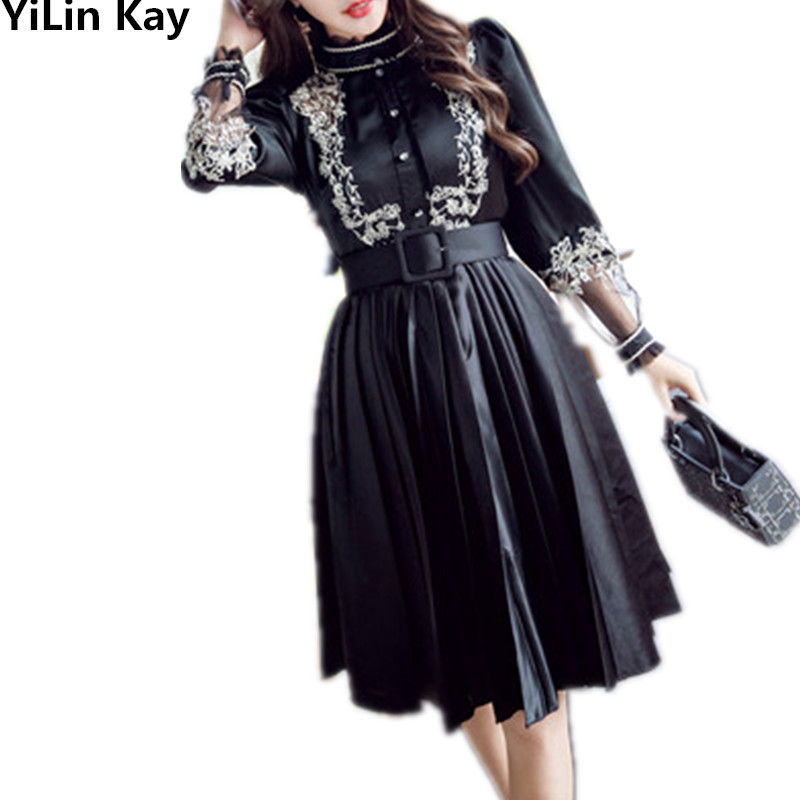 High quality 2019 autumn new embroidery dress women elegant vestidos bodycon vintage black party runway long sleeve dresses