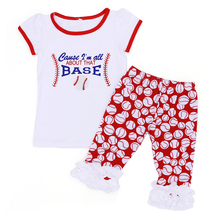 Boys Clothing Summer Baseball Boutique Outfit Short Sleeve Shirt Ruffle Leggings Baseball Clothes Baby Clothes For Newborns Suit