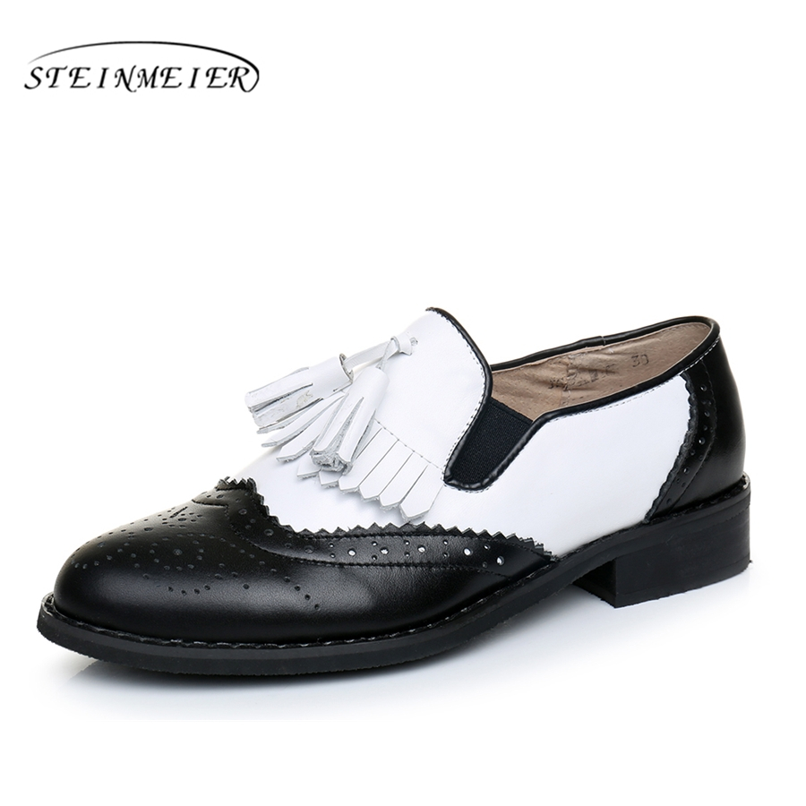 Genuine leather big woman us 9 tassel vintage Casual soft flat shoes round toe handmade black white oxford shoes for women fur<br>