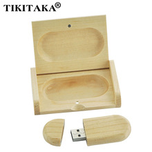Top Quality Hot-Selling Best Gift Maple wooden box shape 8GB USB 2.0 Memory Stick Flash Drive Pen Driver Pendrive pendriver Disk(China)