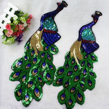 1 Pc Sequin Peacock Patches For Clothing Embroidery Appliques Sewing On DIY Crafts Handmade Clothing Accessories