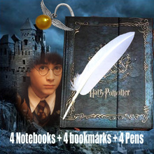 4 Sets Vintage Harry Potter Notebook Book Bookmark Feather Pens Luxury Bride Pins Calendar Agenda 2017/8/9 Planner Writing Pads