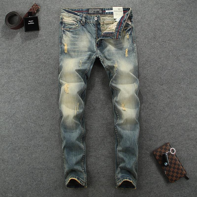 High Quality Slim Fit Fashion Men Jeans Retro Design Nostalgia Wash Skinny Stripe Denim Biker Jeans Men Vintage Ripped JeansÎäåæäà è àêñåññóàðû<br><br>