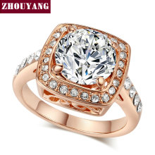 Top Quality ZYR111 ZYR071 Cube Crystal Ring Rose Gold Color Ring Austrian Crystals Full Sizes Wholesale