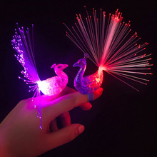 New Creative LED Flash peacock finger lights kids like 7 luminous colour rings children gift toys Halloween Bar Party toy(China)