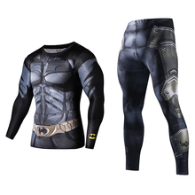 Men Fitness Clothing Set Fashion Superman Tracksuit Set Plus Size Brand Clothing Sportswear Sets 3D Print Full Compression Sets(China)