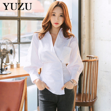 Office Ladies Clothes Casual Shirt Autumn Tops For Women Long Lantern Sleeve Tops 2017 Kimono Style Sexy White Striped Shirt(China)