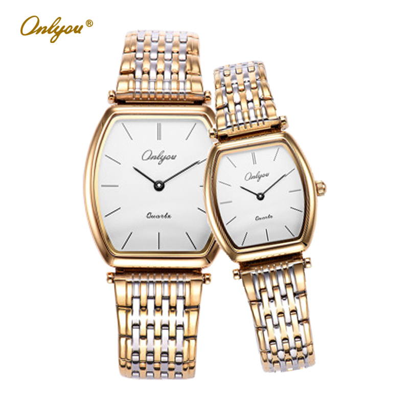 Onlyou Lovers Watches Stainless Steel Tonneau Wrist Watches for Women Men Silver Gold Luxury Top Brand Ladies Male Clock 81098 <br><br>Aliexpress
