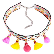 Olsen Twins Bohemian Stylish Knitting Velvet Ribbon Choker Necklace with Pom pom Fringe Tassel Colorful Chokers Jewelry(China)