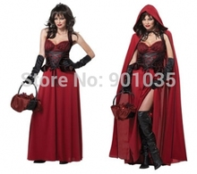 FREE SHIPPING Deluxe Little Red Riding Hood Ladies Fancy Dress Costume Womans Outfit