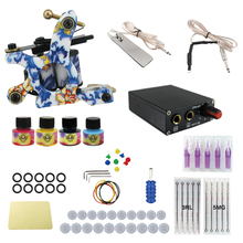 ITATOO Tattoo Machine Kit Professional Tattoo Kit Complete 4 Inks with Power Supply Clipr Cord Tattoo Supplies TK1000016