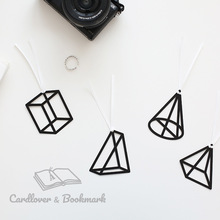 geometry cube square three prism cone bookmark cute kawaii black bookmarks for kids student school gift stationery wholesale