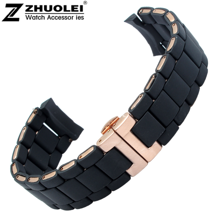 20mm 23mm NEW Black Mens Silicone Rubber Diver Watch Strap Band Bracelets Rose Gold Butterfly Buckle For AR5890 AR5858 AR591<br><br>Aliexpress