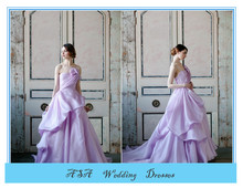 Stunning off shoulder Light Purple Satin Ruffled wedding gowns ball gown wedding dresses patterns 2015(YASA-6143)