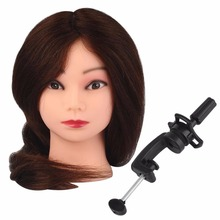 22'' Mannequin Manikin Practice 100% Brown Real Hair Salon Doll Heads Hairdressing Training Head with Stand Pole