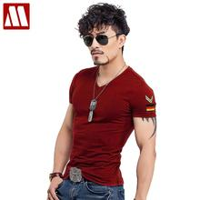 Summer Casual Slim Fit V Neck T Shirts For Men Armband Short Sleeve Army Green Plus Size Men's T-Shirt Cotton TShirt Clothing(China)