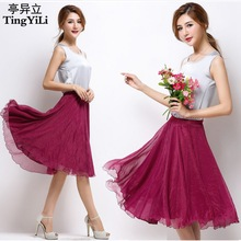 TingYiLi High Elastic Waist Pleated A Line Midi Skirt Adult Tulle Skirts Womens Summer Style Black White Pink Red Grey Purple