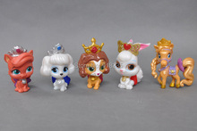 Free shipping EMS 100/Lot Cute 5PCS/Set Princess Palace Pets With Crown PVC Dolls Figure Model Toys Christmas Gift For Children(China)