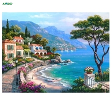Diy diamond embroidery landscape painting full rhinestones pasted painting cross stitch mosaic craft The Mediterranean Sea A1093(China)