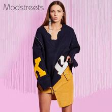 Mostreets Dark Blue Knitted Pullover Pattern Asymmetrical Cuff Oversized Sweater Long Sleeve Female Autumn Casual Loose Tops(China)