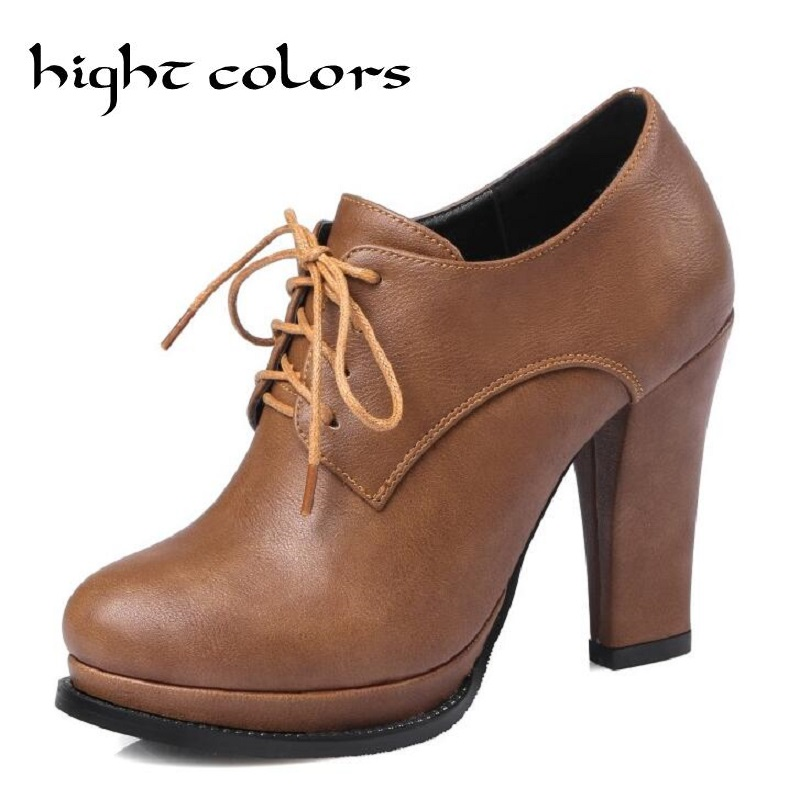 New Fashion Vintage Lacing Pointed Toe Thick Heels Women Pumps England Style Women High Heels Oxfords Shoes Sapatos Femininos<br>
