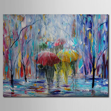 Art Handpainted Painting Landscape Painting on Canvas Fine Art Handmade of Umbrellas Painting Rain Cityscape Painting No Frame(China)