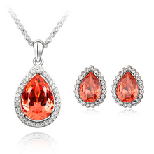 2014 Promotion Direct Selling Women Fashion Austria Crystal Stud Earring Necklace Sets for Christamas Gift Available In 3 Colors