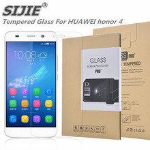 SIJIE Tempered Glass For HUAWEI honor 4 Screen Protector honor4 protective front discount Retail Package Hard BOX save 5 inch