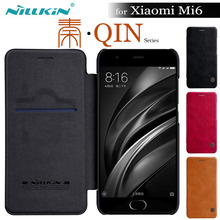 Xiaomi Mi6 Case Nillkin Qin Flip Leather Phone Cover For Xiaomi Mi6 M6 Nilkin Wallet Phone Cases for Xiaomi Mi 6 Smart Wake Up(China)