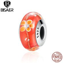 925 Sterling Silver Orange Clearly CZ Flower Murano Glass Beads Fit Original Pandora Charm Bracelets S925 Jewelry Gift ECZ053(China)