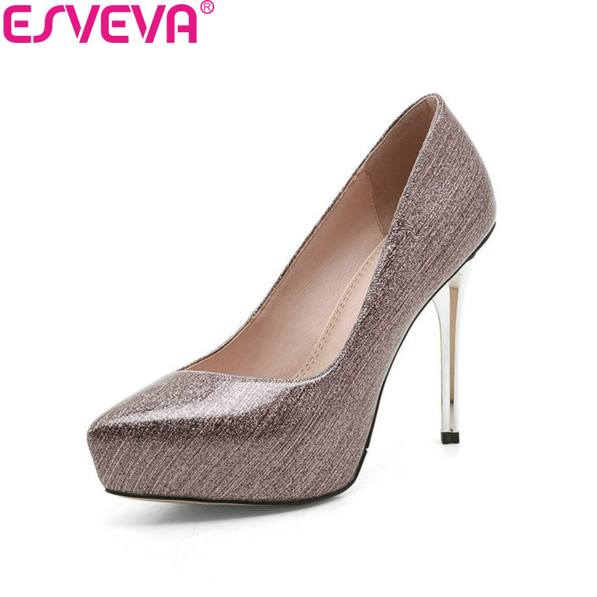 ESVEVA 2018 Women Pumps Party Slip on Elegant Thin Super High Heel Pointed Toe Platform Wedding Pumps Women Shoes Size 34-39<br>