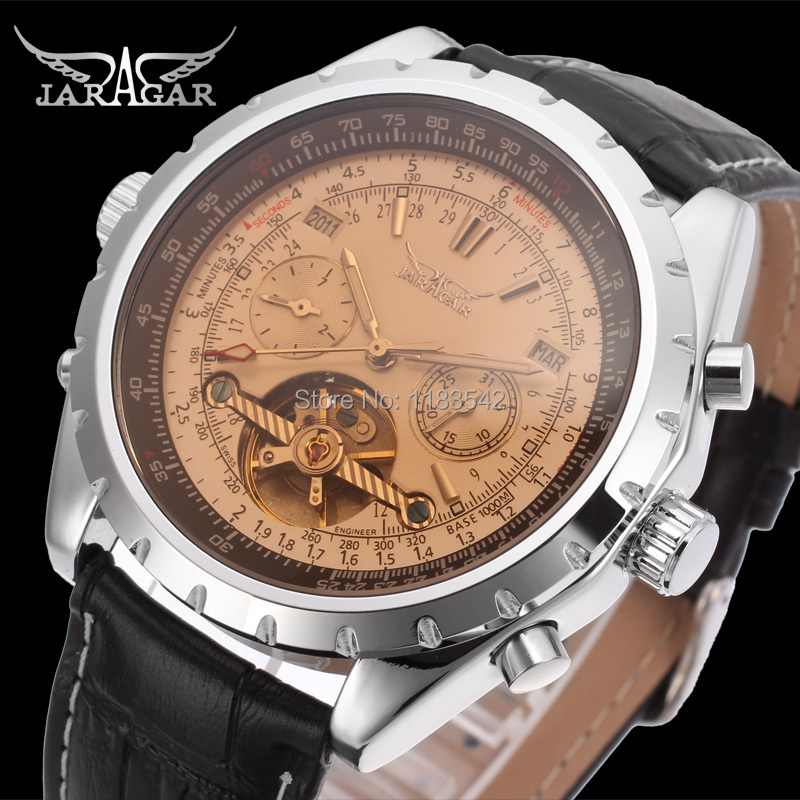 Jarga Automatic men  fashion tourbillon silver metal  watch with black leather band free shipping JAG212M3S4<br>