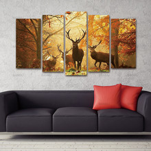 Canvas Painting Animal Wall Picture Home Decor Living Room Deer Wall Painting Modern Tree Canvas Art Bedroom No Frame 5PCS(China)