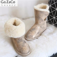 G&Zaco Luxury Winter Australia Sheepskin Snow Boots Natural Wool Sheep Fur Boots Mid Calf Crystal Button Flat Women Fur Boots