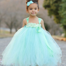 Princess Mint Green Girl Flower Tutu Dress with Cute Flower headband Baby Girl Easter Dress For Birthday Party PT82