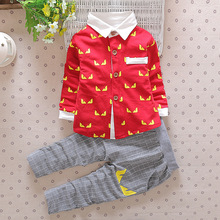 DIIMUU Fashion Baby Custome Boy Clothes Suits Toddler Infant Apparel Children Boys Clothing Casual Shirt + Striped Pants Sets