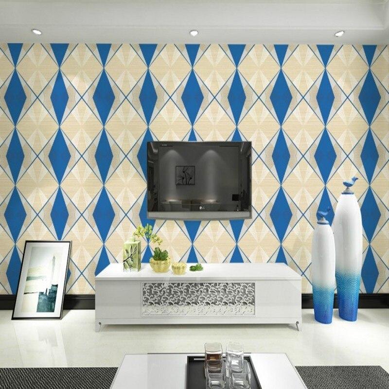 beibehang 3D non-woven wallpaper TV background wallpaper modern sofa bed backdrop blue green diamond wall paper<br>