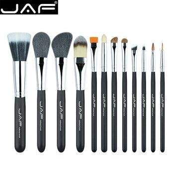Jaf 12 unids alta calidad componen caso con cremallera de cuero sistema de cepillo cosmético profesional del maquillaje cepillos y herramientas j1203myz-b