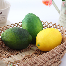 Simulation Lemons Decorative Plastic Solid Artificial Fruit Yellow Green Cabinet Home Decor Party Photo booth Birthday Supplies(China)