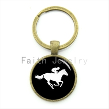 Latest fashion sport lovers gift horse racing keychain unique art horse race profile silhouette full of youthful key chain KC425