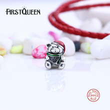 FirstQueen 925 Sterling Silver Christmas Teddy Bear Red & Green Enamel Charm Bead Fit Bracelet Original Jewelry E