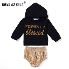 2018 Spring Baby Boys Girl Clothes Set Outfits Newborn Long Sleeve Letter Hooded Tops T-Shirt Striped Briefs 2pc Outfits Set(China)