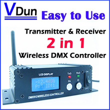 Wireless DMX 512 Controller Transmitter & Receiver 2in1 LCD Display Power Adjustable Repeater LED Lighting Controller DMX512