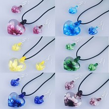 6 sets / lot murano lampwork glass heart pendant necklace earrings jewelry set with rubber chain women jewelry sets best gifts