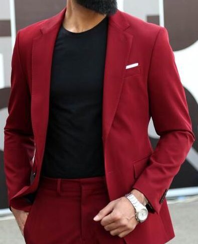 Red Mens Jacket And Coat Slim Fit Wedding Suits For Men 2018 Tuxedo Blazer Masculino Custom 2 Piece Suit For Business Men