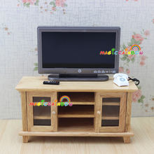 TV Cabinet Stand Table Wooden Toys Furniture Dolls House Handcrafted 1 12  Scale Dollhouse Miniatures(